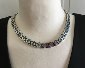Lustrous vintage Mexican Mexico sterling 950 necklace with crushed turquoise inlay