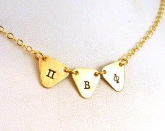 Pi Beta Phi Necklace - Gold Pennant Festoon Necklace - Officially Licensed Pi Beta Phi Necklace - Pi Phi Necklace - Big Little Sorority