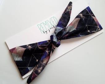 Tie Up Head Scarf Geometric Galaxy - Headband Geometric