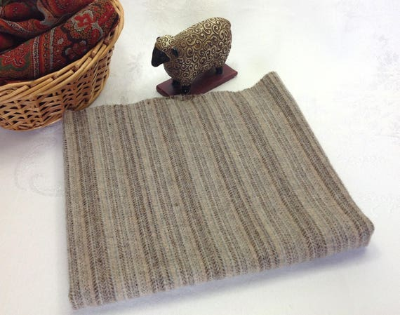 Fat 1/4 yard, Gray Stripe, Mill Dyed Wool Fabric for Rug Hooking and Applique, W379, Gray, Tan, Brown and Natural Stripe