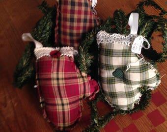 Set of 3 Primitive Homespun Mittens Christmas Tree Ornaments Bowl Fillers Handmade