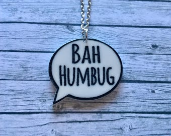 Laser Cut Acrylic Anti-Christmas Bah Humbug Quote Laser Cut Speech Bubble Statement Necklace and Badge