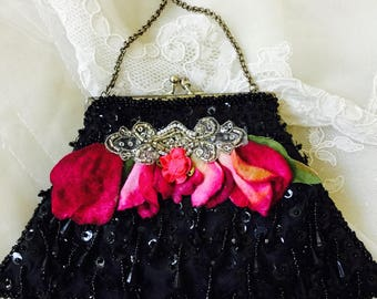 NEW - Vintage Black Beaded Purse with Pink Flowers