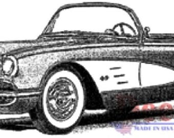 Deep Red Rubber Cling Stamp Classic Corvette Automobile Car