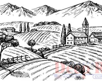 Deep Red Rubber Cling Stamp Rolling Hills Vineyard Winery Scene