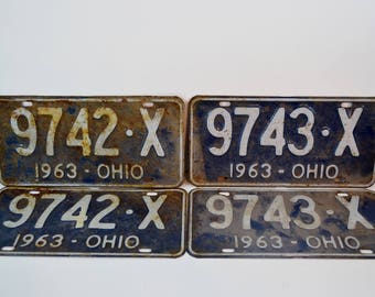 Vintage 1963 Ohio License Plates Two Pair Consecutive Numbers Restoration Collectible Garage Boy's Room Man Cave Hot Rod Repurpose