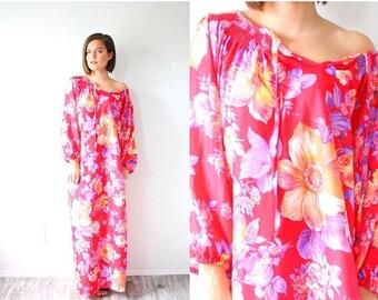 40% OFF CHRISTMAS in JULY Vintage boho maxi bright red/pink floral summer muumuu dress // modest Hawaiian dress / tropical floral short slee