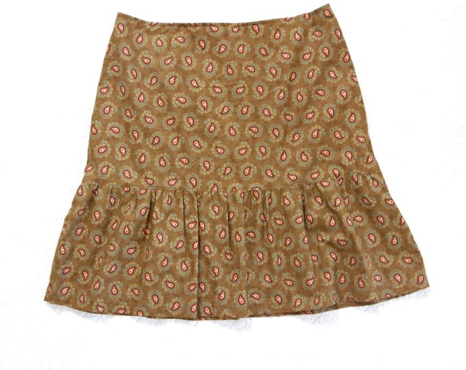 knee length cotton skirt with flounce of caramel colored reproduction fabric with paisley pattern, victorian reproduction fabric, vintage
