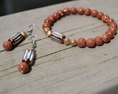COPPER GOLDSTONE Beaded Stretch Bracelet with Earrings Copper and Gold