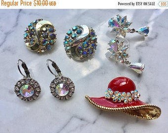 SUMMER SALE Craft Lot of Vintage and Salvaged Aurora Borealis  Rhinestone and Crystal Jewelry Pieces for Assemblage
