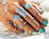 Bohemian rings antique silver with blue stone set of 10 rings boho rings festival rings festival jewellery womens rings knuckle rings