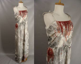 70s Zombie Tube Dress. Vampire Dress. Bloody Neckline. Distressed Costume. Zombie Prom Queen. Halloween Costume. The Walking Dead. size 8 M