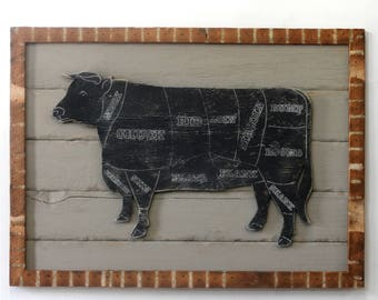Framed Butcher Cow Sign Wooden Framed Butcher Shop Cow Meat Chart Wooden Kitchen Wall Decor