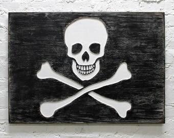 Jolly Roger Flag Pirate Wooden Wall Art Sign