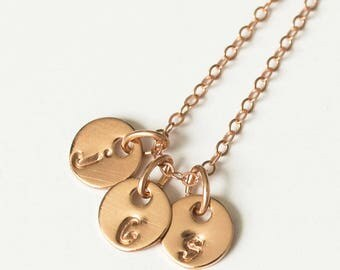 Tiny Rose Gold Initial Necklace - Tiny Mothers Necklace - Discs Necklace -Dainty Initial Bridesmaid Necklace -Tiny Gold Necklace  Flowergirl