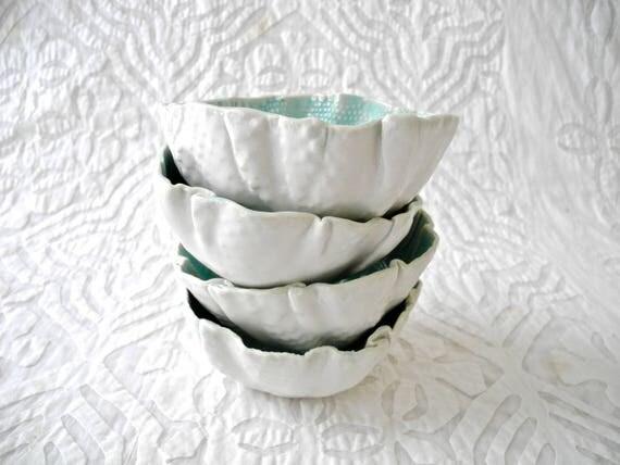 Ceramic Bowl set, Aqua Bowl set, turquoise bowl, organic shape, ice cream bowl, porcelain bowls, dip bowl, pastel bowl, nut bowl, snack bowl