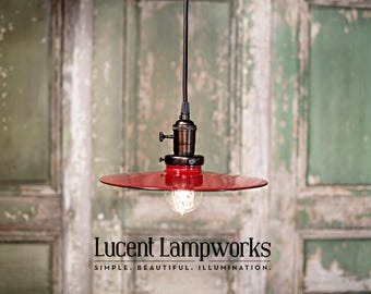Lighting Pendant with Red Flat Shade - 10 Inch