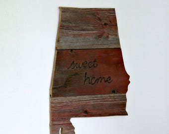 ALABAMA State Wood Wall Decor   Red Barn Wood   Reclaimed Barn Wood   Home Sign   Sweet Home Alabama   Medium Size