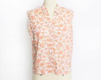 Vintage 1960s Blouse - Orange Peach Paisley Printed Cotton Blend Button Up Sleeveless Top - Small - Medium