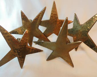 Vintage Brass STAR Napkin Rings Set / Lot of 5 Hammered Retro Solid Heavy Dining Decor Mid Century Art Deco