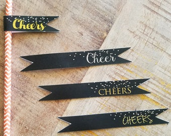 Personalized custom logo Glitter dots party Cheers Straw Flags, . Set of 50.