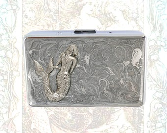 RFID Metal Wallet Antique Silver Mermaid Inlaid in Hand Painted Silver Enamel Credit Card Case with Personalized and Color Options