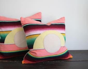 Modern Woven Striped Sunset Serape Pillow with Wool Felt Applique