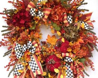 Fall Pumpkin Wreath, Hydrangea Wreath, Holiday Wreath, Mackenzie Child's Ribbon, Thanksgiving Wreath, Burgundy Red, Golden, Orange Wreath