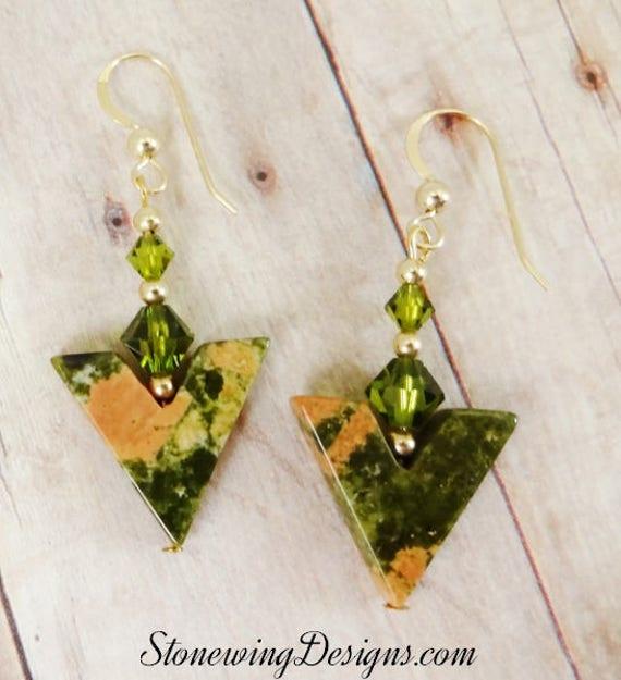 Green and Pink Unakite Gemstone Earrings
