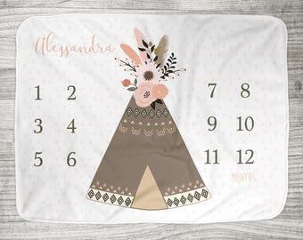 "FREE US SHIPPING Milestone Photo Blanket // Fleece or Minky  34"" x 52"" // Newborn Photo Blanket // Boho Floral Teepee Blush + Coral + Olive"