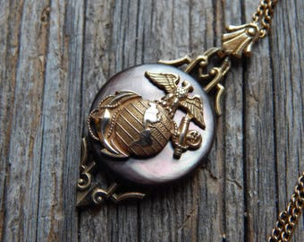Us marines pendant bald eagle globe and anchor necklace made antique marines pendant in sterling silver with shell detail eagle globe and anchor pendant aloadofball Images