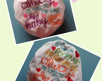 """SassyCloth one size pocket diaper with """"I 'll love you forever..."""" embroidery. Ready to ship."""