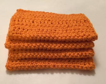 4 Large dish cloths/ dish rags/ wash cloths made with 100% cotton yarn Carrot