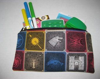 Game Of Thrones Zipper Pencil Case Or Cosmetic Case.
