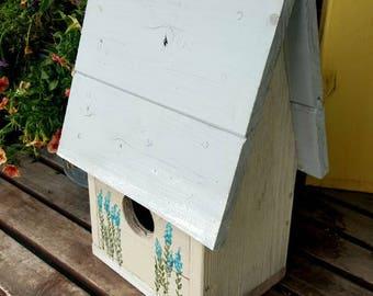 birdhouse,rustic garden decor,cottage decor,reclaimed wood,the Birdman of orange,lavender herbs,turquoise,outdoor bird house,vintage style