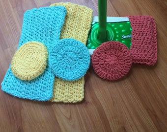 Crocheted Cotton Swiffer Cover with Scrubbie