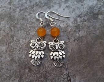 Owl Earrings - Antiqued Silver Owl Charm Orange Jade Earrings - Gemstone Owl Jewelry, jingsbeadingworld inspired by nature, Gift for her