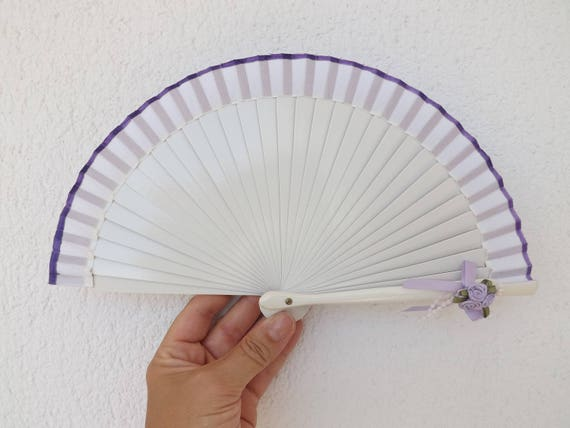 Tiny  White Purple Posy Hand Fan