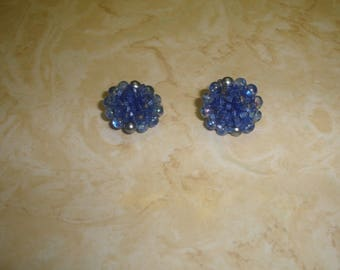 vintage clip on earrings blue glass bead clusters