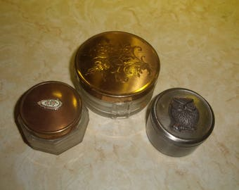 3 vintage dresser vanity jar glass tin owl flowers hair receiver