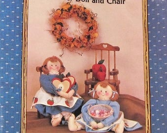 Vintage Ozark Country Prim Rustic Country Prairie Crafts Sewing Pattern 720 Apple Anna Doll, Coasters, CDecorative Wooden Chair Neatly Cut