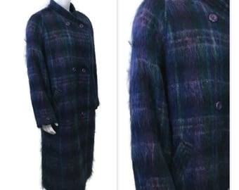 70s Mohair Coat, Purple Tartan Coat, Blue Plaid Coat, 1970s Dress Coat, Mohair Winter Coat,Wool Coat, Jewel Tone, Drop Shoulder Coat