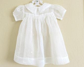 Vintage Baby Dress Sheer White Organdy Smocked Bodice Size 2  851b