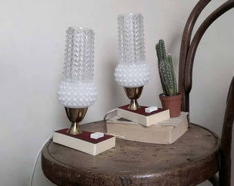 1960s table lamps. bedside table cream red bubble glass lights. Midcentury Modern. Funky / teen / dorm / night lights.
