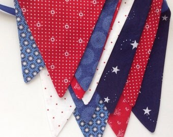 4th of July Banner/ READY to SHIP/  Red, White and Blue Banner/ Fourth of July Bunting/ Patriotic Photo Prop/ Picnic Banner