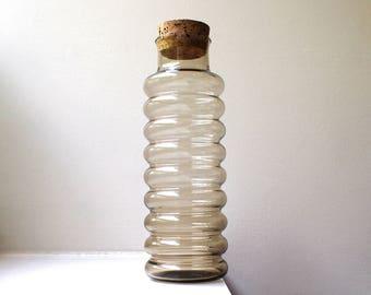 Vintage Holmegaard Primula Smoke Glass Jar Apothecary Large Ribbed Container Vase Cork Lid Jacob Bang Denmark