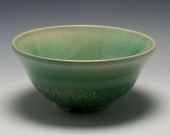 Handmade Ceramic Serving Bowl in Shades Celadon green and Turquoise/Ceramics and Pottery