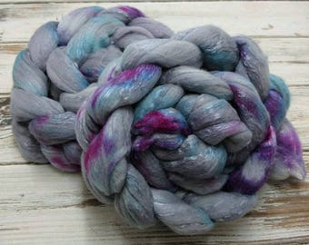 Vintage Funk 4oz Merino Silk Superfine 18.5 micron Merino Wool Mulberry Silk Spinning Fiber Combed Top Roving Gray Grey Purple Pink Blue