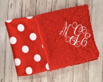 SALE Monogrammed Minky Baby Blanket - Red and white Polka dots, Black, Personalized Soft Neutral - Minnie Mouse, blanket with name,  Newborn