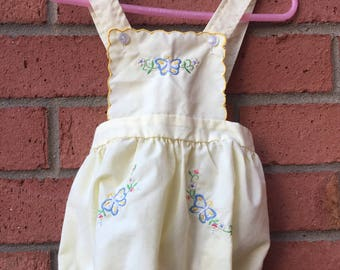 Cradle Togs Inc. Size 12 Mos Pale Yellow Floral Butterfly Embroidered Baby Girl Romper